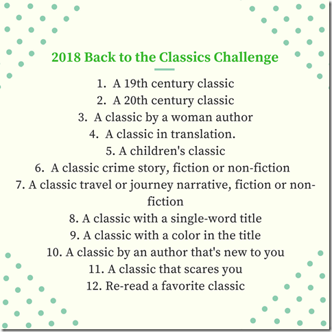2018 Back to the Classics Challenge1. A 19th century classic2. A 20th century classic 3. A classic by a woman author4. A classic in translation. 5. A children's classic6. A classic crime story, fiction or non-fiction